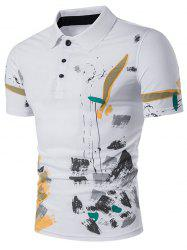 Color Block Splatter Paint Print Polo T-Shirt - Blanc