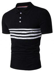Short Sleeve Stripe Selvedge Embellished Polo T-Shirt