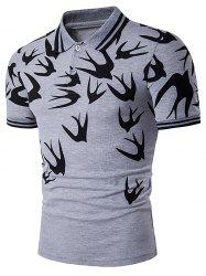 Varsity Stripe Swallow Print Polo T-Shirt