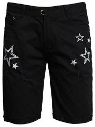 Zip Fly Star Print Shorts - BLACK