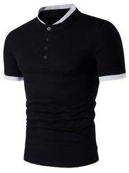 Panel Design Stand Collar Short Sleeve Henley Shirt
