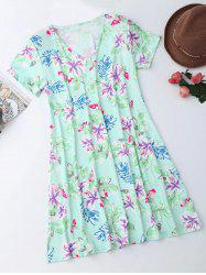 V Neck Mini Floral T-Shirt Dress