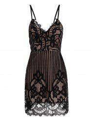 Criss Cross Eyelash Lace Spaghetti Strap Dress - Noir