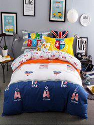 Queen Size Super Soft Full Cotton Graphic 4Pcs Bedding Sets