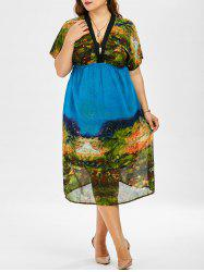 Plus Size Chiffon Print Midi Dress