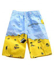 Waves Sand Print Beach Shorts