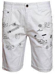 Zip Fly Scrawl Print Shorts