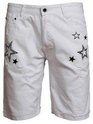 Zip Fly Star Print Shorts