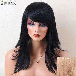 Siv Hair Layered Natural Straight Long Inclined Bang Human Hair Wig - BROWN WITH BLONDE