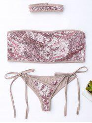 Sequins String Strapless Bandeau Bikini with Choker