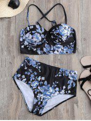 Floral Push Up High Waist Bikini