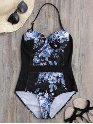 Floral Halter Push Up One Piece Push Up Swimsuit