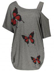Cold Shoulder Butterfly Print Plus Size Top - GRAY