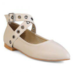 Eyelets Faux Leather Flat Shoes - APRICOT