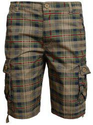 Zip Fly Pockets Plaid Shorts - KHAKI
