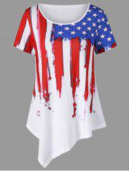 Distressed American Flag Painting Asymmetric T-Shirt - WHITE