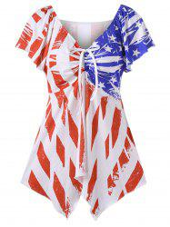 Patriotic American Flag V Neck Swing T-Shirt - WHITE