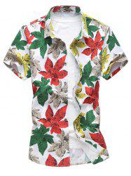 Stretchy Allover Leaves Print Short Sleeve Shirt
