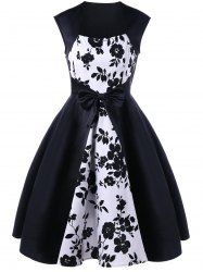 Bowknot Decorated Floral 50s Swing Dress -