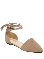 Flock Tie Up Pointed Toe Flat Shoes -