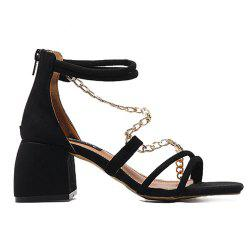 Chains Block Heel Sandals