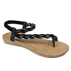 Weaving Elastic Band Sandals - BLACK