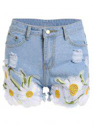 Floral Embroidered Frayed Denim High Rise Shorts - LIGHT BLUE