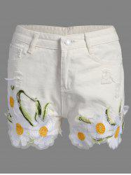 Floral Embroidered Frayed Denim High Rise Shorts -