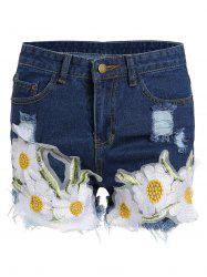 Floral Embroidered Frayed Denim High Rise Shorts - DEEP BLUE