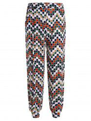 Geometric Print Elastic Waist Pants with Pockets