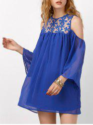 Openwork Lace Cold Shoulder Chiffon Mini Dress - BLUE