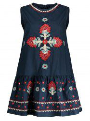 Embroidered Sleeveless A Line Dress