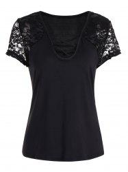 Short Sleeve Lace Insert Criss Cross Tee