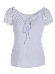 Lace Panel Scoop Neck T-Shirt