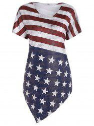American Flag Print Asymmetric Tunic Top