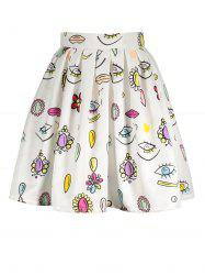 A Line Eyes Print Skirt - WHITE