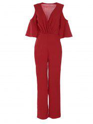 Plunge Cold Shoulder Jumpsuit - RED