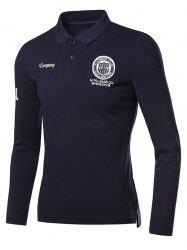 Appliques Long Sleeve Polo Shirt