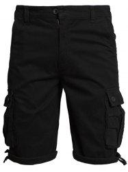 Zip Fly Flap Pockets Shorts - BLACK