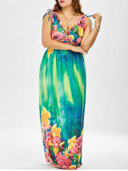 Plus Size Floral Floor Length Dress