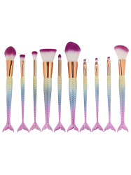 MAANGE 10 Pcs Ombre Rainbow Mermaid Makeup Brushes Set -