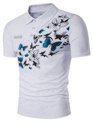 Butterflies Print Fashion Short Sleeve Polo T-Shirt