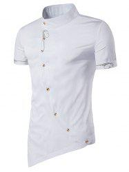 Mandarin Collar Embroidered Short Sleeve Novelty Shirt