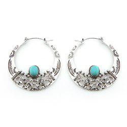 Hollow Out Turquoise Big Hoop Earrings - Argent