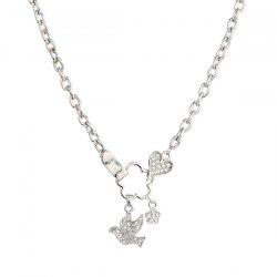 Rhinestone Pigeon Heart Pendant Necklace