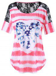 Plus Size Lace Trim Distressed American Flag T-Shirt