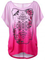 Rose Print Ombre Plus Size Tunic Top - SANGRIA XL