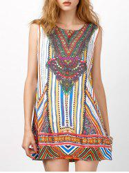 Sleeveless Tribal Print Shift Dress - COLORMIX M