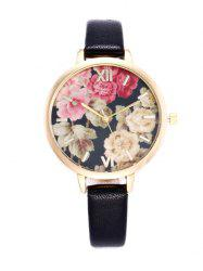 Floral Print Roman Numeral Wrist Quartz Watch - BLACK