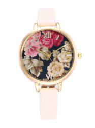 Floral Print Roman Numeral Wrist Quartz Watch - WARM WHITE LIGHT